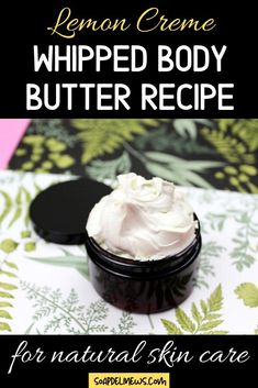 Natural whipped body butter recipe with an all-natural lemon creme scented fragrance oil. Add this delightfully scented DIY whipped body butter with roasted cocoa butter, shea butter & a lemon fresh bakery scent to your natural skin care routine. The perfect natural DIY moisturizer for any natural beauty regimen, this non greasy body butter recipe is a must for dry skin relief. Plus tips on how to hydrate dry skin for soft, healthy looking skin. Get beautiful skin with these best beauty tips.