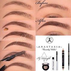 eyebrows tutorial natural looking eyebrow tutorial using Anastasia Beverly Hills products Eyebrow Kits, Eyebrow Makeup, Skin Makeup, Makeup Eyebrows, Eye Brows, Eyebrow Pencil, Eyeliner, Eyebrow Tinting, Plucking Eyebrows Tips