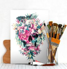 skull animals birds flowers tropical floral watercolor digital green yellow red parrot hibiscus abstract painting illustration leaves summer Illustration