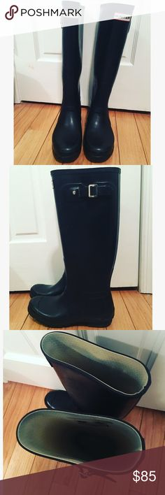 HUNTER Tall Black Rain Boot (& Side Buckle) Great condition, hardly worn! Some blue inside from jeans (see pic). Natural worn look is how they came. Minor scuffing. Silver buckle. Hunter Boots Shoes Winter & Rain Boots