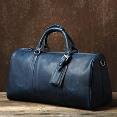 Genuine Leather Mens Large Blue Travel Bag Cool Duffle Bag Shoulder Bag  Weekender Bag for Men db20af66e6a6f