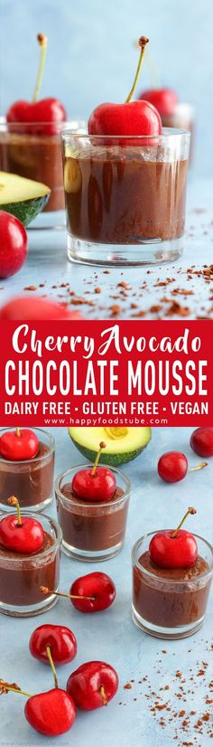 Cherry Avocado Chocolate Mousse is great all-natural sugar dessert. Imagine rich chocolate-y flavor, creamy avocado texture and sweetness from cherries and dates. This avocado chocolate mousse recipe is also dairy-free, gluten free and vegan via happyfoo Paleo Dessert, Healthy Dessert Recipes, Gluten Free Desserts, Dairy Free Recipes, Healthy Desserts, Easy Desserts, Delicious Desserts, Snack Recipes, Mousse Dessert