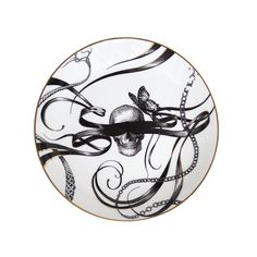 Add unique design to your home with this luxurious Perfect Plate from Rory Dobner. Featuring an eye-catching skull and butterflies, surrounded by swirling ribbon in Rory Dobner's illustrative black...
