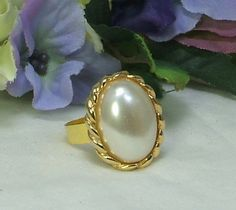 Large+Oval+Faux+Pearl+Ring+Upcycled+Vintage+Clip+by+NewHopeBeads,+$12.00