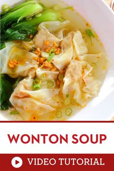 Watch and learn how to make Thai food at home! A classic comforting Thai street food. Perfect for cold days, but also great in the summer because it's so light. Super easy to make, and you can make the wontons in advance! How to make Thai street food recipe at home| how to cook wonton soup Chowder Recipes, Chili Recipes, Asian Recipes, Soup Recipes, Ethnic Recipes, Authentic Thai Food, Thai Street Food, Asian Soup, Dinner Party Recipes