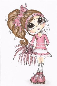 Ooak HAND COLOURED Sherri Baldy CARD TOPPER ***NEW*** Cardmaking/Embellishment Whimsy Stamps, Digi Stamps, Pictures To Draw, Cute Pictures, Colouring, Coloring Pages, Besties, Cartoon Pics, Pattern Drawing