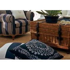 I am obssessed with whicker Ralph Lauren Fabric, Arch Interior, Mood Indigo, Bedroom Vintage, White Houses, Interior Design Services, Club Chairs, Home Collections, Blue And White