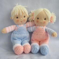 Jack and Jill - 9 - doll knitting patterns - knitted baby dolls - PDF Instant Downlowd - Dollytime Jack and Jill / doll knitting patterns / knitted baby dolls / Knitted Dolls Free, Knitted Doll Patterns, Knitting Patterns Free, Free Knitting, Doll Patterns Free, Crochet Amigurumi, Crochet Dolls, Knitting Yarn, Baby Knitting