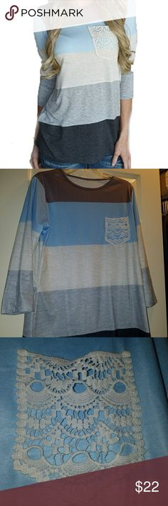 NWOT Women's blue and gray striped blouse Women's blue and gray striped blouse. Material is very soft and great quality! Size large. Perfect to wear with leggings because it comes low enough to cover your bottom! Bought recently. Never worn! listone Tops Blouses