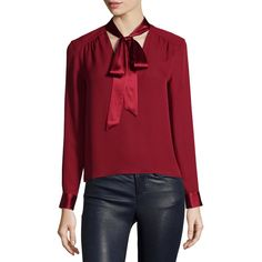 Alice + Olivia Irma Satin-Trim Necktie Blouse (£220) ❤ liked on Polyvore featuring tops, blouses, red, long sleeve red blouse, neck-tie, red silk blouse, silk neckties and silk neck ties