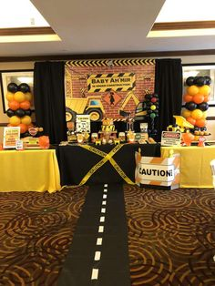 Trendy baby shower table decoration ideas for boys construction birthday ideas Shower Party, Baby Shower Parties, Baby Shower Themes, Baby Boy Shower, Shower Ideas, Baby Showers, Construction For Kids, Construction Birthday Parties, Construction Party Games