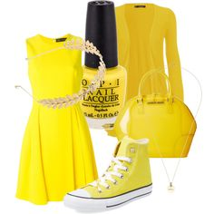 A fashion look from October 2015 featuring round neck dress, pocket cardigan and high top trainers. Browse and shop related looks. Armani Jeans, Versace, Polyvore Fashion, High Tops, Sunshine, Converse, Fashion Looks, Yellow, My Style