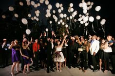 Sending off the bride and groom with a balloon release. Balloon Release, Wedding Pics, Serendipity, Photographers, Cool Hairstyles, Balloons, Wedding Decorations, Weddings, Bride