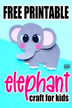 Looking for a fun craft to each about the letter E? Click and find the free printable elephant template to make this adorable easy diy elephant paper craft. He is the perfect zoo or safari craft for preschoolers, toddlers and kindergarten kids! #elephant #elephantcrafts #safaricrafts #zoocrafts #SimpleMomProject Easy Preschool Crafts, Zoo Crafts, Kindergarten Crafts, Crafts For Kids To Make, Toddler Crafts, Preschool Activities, Safari Animal Crafts, Giraffe Crafts, Elephant Template