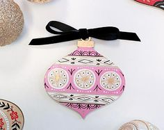 Hand-painted Wood Ornament, Christmas, Holiday, One-Of-A-Kind, Gold, Black, Pink