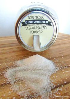 1 cup baking soda, 1 cup washing soda, 1 cup citric acid, ½ cup salt, a few drops of lemon essential oil - (1) Place all ingredients in an air tight container or jar. Stir well. (2) Use approximately two tablespoons per load. If the detergent doesn't fully dissolve in your machine place the detergent in the bottom of your dishwasher before starting it.