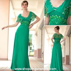 Green Evening Gown - Sexy Short Sleeves $220.99 (was $250) Click here to see more details http://shoppingononline.com/custom-made-dresses/green-evening-gown-sexy-short-sleeves.html  #GreenEveningGown #ShortSleevesEveningGown #GreenEveningDress #GreenDress #CustomMadeDress