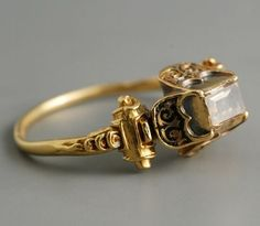 Gold, enamel and table cut diamond ring from the 16th Century