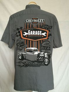 Choko Chevrolet Button Down Shirt Large Gray Chevy Garage Complete Auto Repair  #Choko #ButtonDown