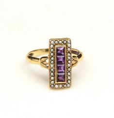 Vintage yellow gold, amethyst and mini pearl Deco/Art Nouveau ring -Marked -Amethyst four stones approx square, 30 micro pearls -Ring size -Weight -Stunning classy ring for the stylish woman Engagement Rings Under 500, Art Nouveau Ring, Amethyst Jewelry, Turquoise Cuff, Sterling Silver Cuff, Pearl Ring, Rose Gold, Jewels, Yellow