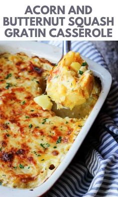 """This Acorn and Butternut Squash Gratin Casserole is made """"Provencal style"""" with two types of winters squashes, whole roasted garlic, chunks of potatoes and tons of Gruyere cheese that creates the most amazing topping. This is the best Thanksgiving vegetable side dish you could put on your table. Healthy Side Dishes, Side Dish Recipes, Baked Green Beans, Incredible Recipes, Amazing, Beef Casserole Recipes, Italian Dinner Recipes, Brunch Casserole, Potato Sides"""