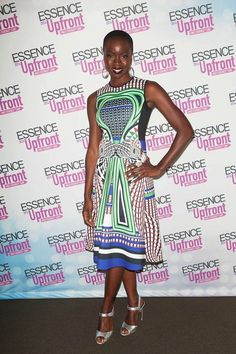 Hot! or Hmm…: Danai Gurira's Essence Upfront Clover Canyon Resort 2014 Blue and Green Printed Dress