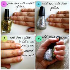 DIY Ombre Glitter Nails