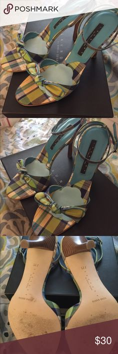 Laundry by Shelli Segal size 7 heels In good  pre owned condition ! Really cute on ! Blue multi colored plaid sandal style heels sz 7 I placed matching bridal blue Foot Petals ball of foot cushions inside for extra support and comfort . In original box . Laundry by Shelli Segal Shoes Heels