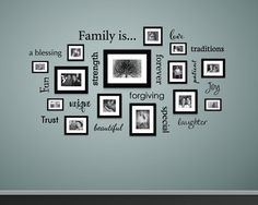 Family is. Wall Decal - Family Decor - Decals for Picture Wall - Gallery Wall Decals Cadre Design, Family Pictures On Wall, Hanging Pictures On The Wall, Diy Picture Frames On The Wall, Picture Walls, Hang Pictures, Family Photos, Cool Photos, Photowall Ideas