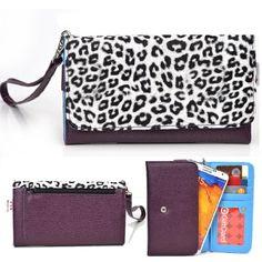 EXXIST® Metro Safari Series. Patent Leather Women's Wallet / Clutch for Hisense EG970 Mira (Color: White Leopard...