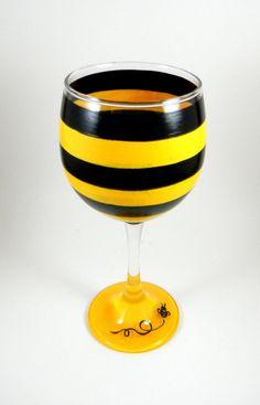 Bee wine glass by ImpulsiveCreativity on Etsy, $20.00