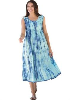 Dress, in tie-dye with pintucks | Plus Size Casual Dresses | Woman Within