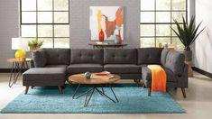 Churchill Tufted Cushion Back Armless Chair Dark Grey and Walnut - Coaster Fine Furniture Living Room Furniture, Furniture Sets, Furniture Online, Dark Grey Sectional, Living Room Sectional, Sectional Sofas, Sofa Bed, Coaster Fine Furniture, Living Room Sets