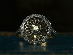 1900s Edwardian ~0.40ct Cognac European Cut Diamond Sunflower Ring  18K Gold, Platinum, ~0.20ctw Old Single Cut Diamonds