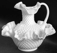Vintage Milk Glass Hobnail Bowl and Pitcher Fenton Glassware, Fenton Milk Glass, Antique Glassware, Fenton Lamps, Antique Dishes, Antique Bottles, Vintage Bottles, Antique Lamps, Vintage Dishes