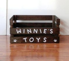 This personalized dog toy box is made using a handmade-crafted wooden crate. It has a lower front to make toy access easy for your little one. Send me a message and I will be happy to accommodate you with almost any request. It measures 18.5 long, 12.5 wide and 9.5 high in the back and 6 high in the front.