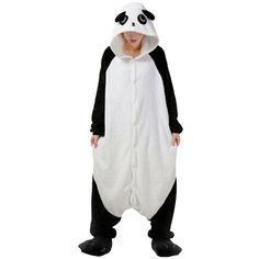 Womens Hooded Panda Pajamas Onesies Animal Costume Black (€17) ❤ liked on Polyvore featuring intimates and black