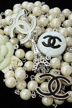 Vintage Chanel Pearl CC Logo Necklace by ajct