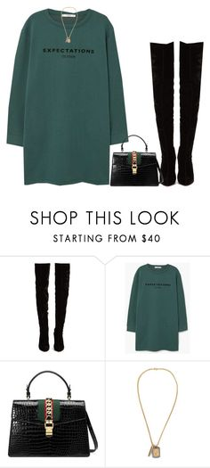 """e x p e c t a t i o n s a r e h i g h ♡"" by anothering ❤ liked on Polyvore featuring Christian Louboutin, MANGO, Gucci, Versace, GREEN, Boots and gucci"