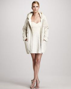 Floral Cocoon Parka & Jacquard Sweetheart Dress by Erin Fetherston at Neiman Marcus.