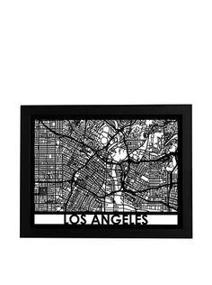Cut Maps Los Angeles Framed 3-D Street Map