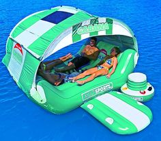 Be in control of your very own floating island with The Pool and Patio Cabana Islander Lounge. This portable lounge comes complete with a wind resistant cabana top, cup holders, center swim porthole, and a cooler to keep your drinks ice-cold. Islander Pools, Piscina Diy, Cute Pool Floats, Lake Floats, Cabana, Inflatable Kayak, Inflatable Island, Floating In Water, Floating Island
