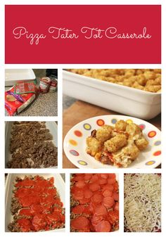 Pizza Tater Tot Casserole is a delicious and easy casserole recipe that kids and adults love! Your favorite pizza toppings, topped with crispy tater tots. Supper Recipes, Delicious Dinner Recipes, Meat Recipes, Yummy Food, Potato Recipes, Fun Food, Yummy Treats, Gooseberry Patch Cookbooks, Tater Tot Casserole