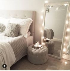 Serene bedroom - 40 Most Creative First Apartment Decor and Remodel Serene Bedroom, White Bedroom, Master Bedroom, Master Suite, Bedroom Brown, Large Bedroom, Royal Bedroom, Master Master, Mirror Bedroom