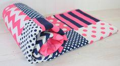Baby Girl Blanket, Fleece Blanket, Crib Bedding, Nautical Nursery Decor, Baby Shower Gift, Pink and Navy Blue Chevron, Dots and Stripes