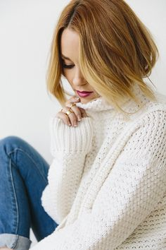 Lauren Conrad in a cozy turtleneck sweater