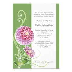 Majestic Dahlia Wedding Invitation  Click on photo to purchase. Check out all current coupon offers and save! http://www.zazzle.com/coupons?rf=238785193994622463&tc=pin