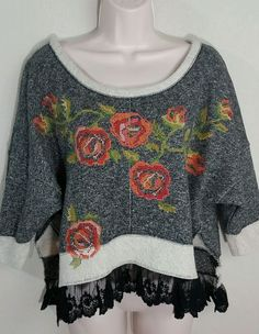 IVY JANE Dolman Cross Stitched Floral Sweatshirt Split Sides Lace Hem Sz M NWOT #IvyJane #Blouse