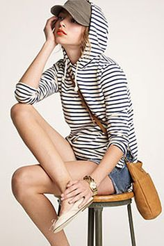 love love love striped hoodies. this style is tomboy relaxed chic, love it