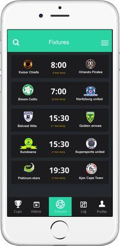 Ui Design Soccer app concept by Moeketsi Mokay Lebakeng